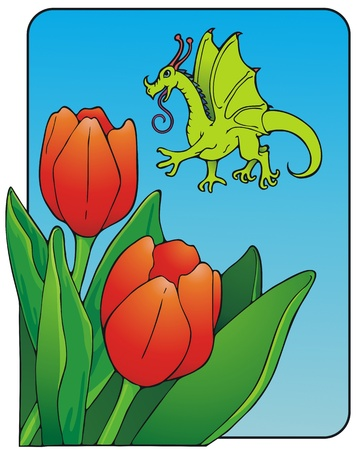 Fairy dragon looking for nectar and pollen in bright red parrot tulips  Illustration