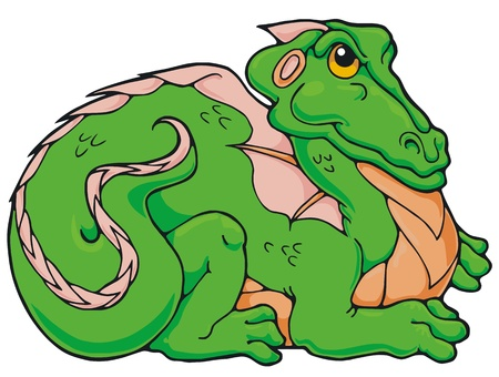 Smug little dragon trying to look fierce, and failing Stock Vector - 19553615