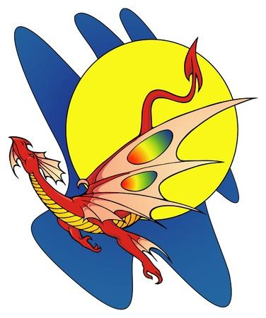 swoop: Drag�n rojo feliz volando contra una luna llena Vectores