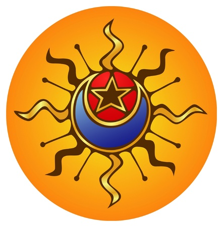 Mystic emblem of the sun, moon and a star  Illustration