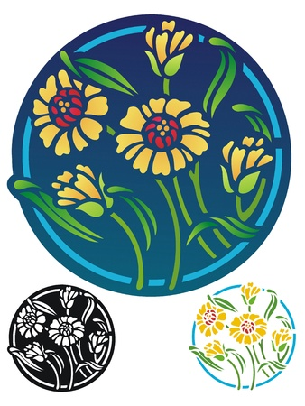 version: Floral ornament with coneflowers   Includes stencil version and black outline