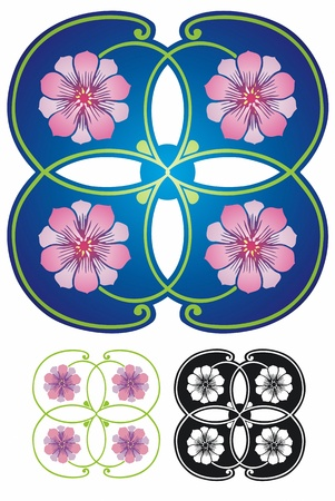 quartet: Floral quad ornament, Late Victorian style  Non gradient and black outline included  Illustration