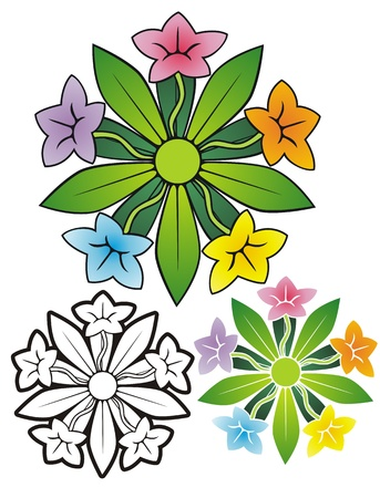 five star: ornament of five different colored flowers in a star  Comes with stencil and black outline versions