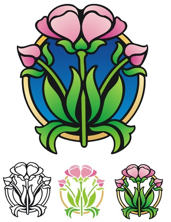 abstract art: Easter emblem with alternates  Flower symbol of springtime
