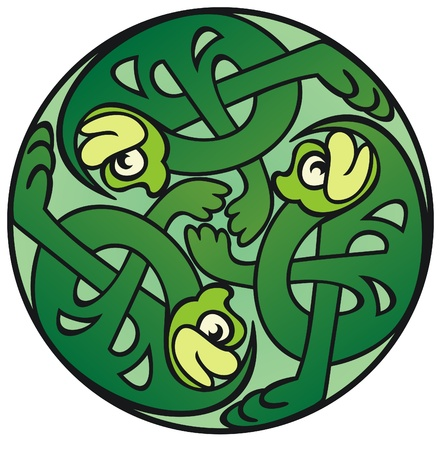 knot work: Three celtic knot work style frogs dancing in a circle
