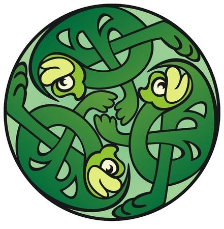 leapfrog: Tres nudo celta trabajo estilo ranas bailando en un c�rculo Vectores