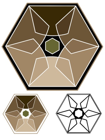Hexagonal emblem showing strength, and durability   Stencil and black outline versions included