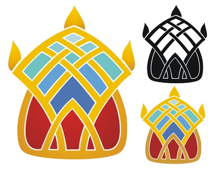 Art Deco emblem of a crown   Comes with non gradient and black outline versions  Illustration