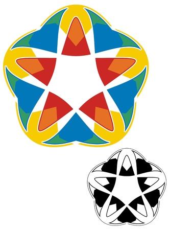 meant: Cinque facce disegno astratto significato per il biglietto da visita di decorazione, carta intestata o brochure Allegro, carnevale sentire