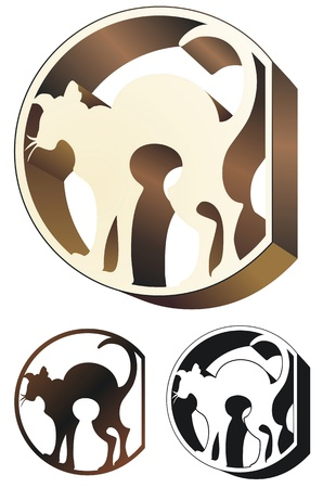 Art Deco style ornament featuring an alley cat  Simplified and black only versions included  Vector