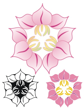 based on asian family crests, an emblem of three flowers