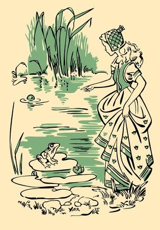 libro de cuentos: La princesa y el sapo Vectores