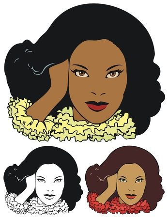 alternate: African American woman in high fashion, with alternate versions