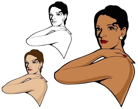 high fashion model: Modelo de alta manera elegante espa�ol con versiones alternativas Vectores