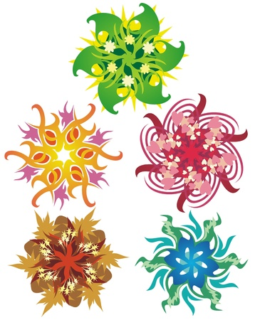Colorful snowflake style designs representing seasons, elements, and holidays
