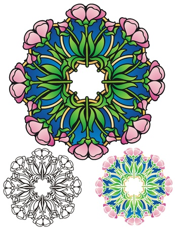 springtime: floral mandala of springtime blossoms, with alternates