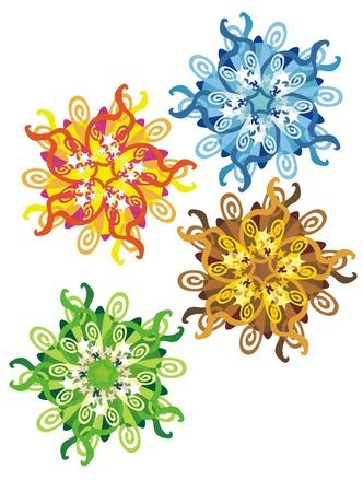 pentacle: decorative spots representing the seasons