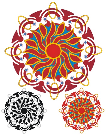 Blazing sun mandala, eight sided, with rings and things Illustration