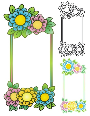stationery border: cute cartoon flowers on a colorful springtime border