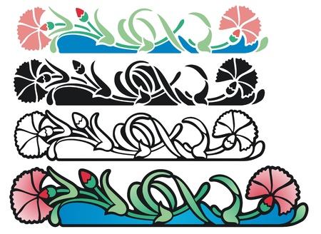 claveles: Art Nouveau ornamento estilo de claveles