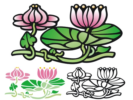 pad  lily: flowers and lily pads  comes with non gradient and black outline Illustration