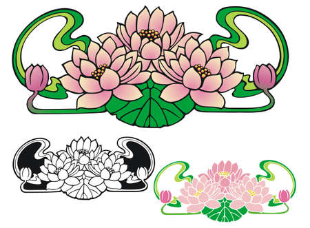 Art Nouveau style ornament of three water lilies, with buds   Comes with non gradient and black outline versions