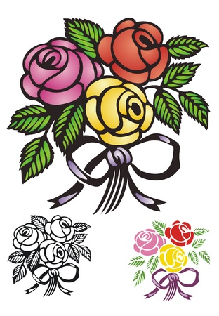 red rose: bouquet of traditional roses, tied with a bow