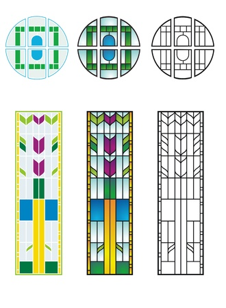 Traditional stained glass designs, typical of private residences in early to mid 20th century America
