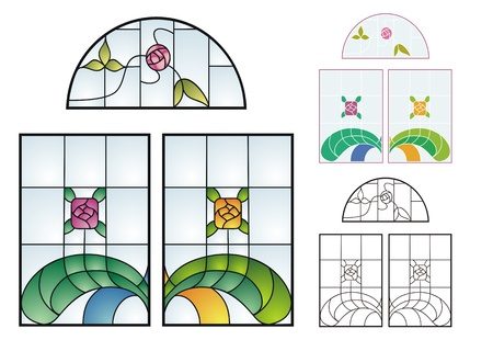 stained glass: Traditional stained glass designs, typical of private residences in early to mid 20th century America