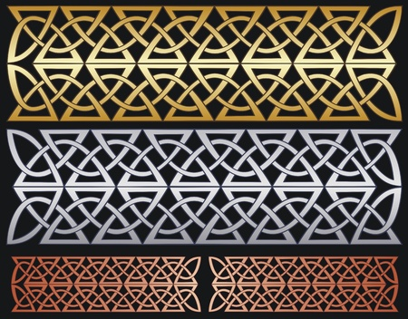 aluminum: metallic knotwork designs, brass, aluminum and copper, or gold, silver and bronze  Illustration
