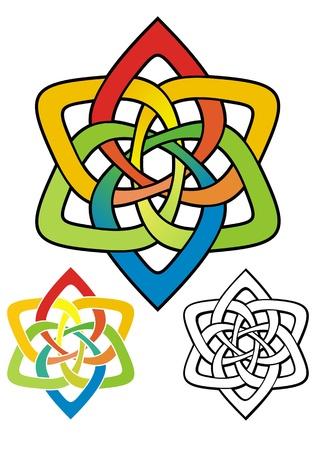 puntig: zespuntige ster in regenboogkleuren voor visitekaartje of briefpapier Wordt geleverd met niet-gradiënt stencil, en zwart overzicht versies