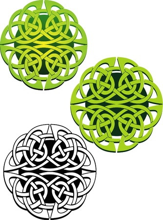 knot work: ornate abstract knot work design of two interwoven lines creating a circle