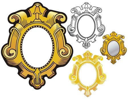 style: ornate renaissance style border like a carved, gilded mirror frame
