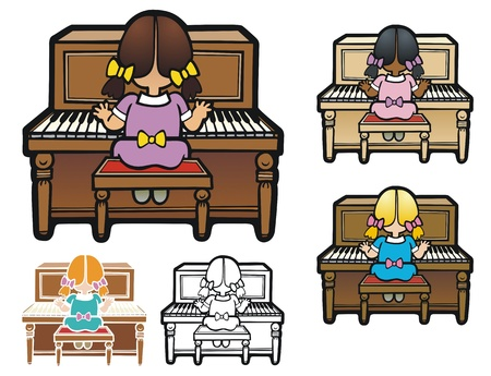instrument practice: Piano lessons, with variations Illustration