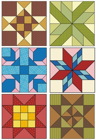 old fashioned quilting squares, various patterns