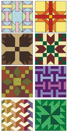 textiles: Old fashioned quilting squares, various patterns and designs
