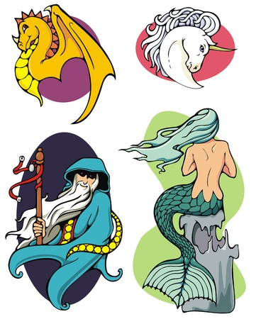An assortment of four different  fantasy illustrations, in bright colors