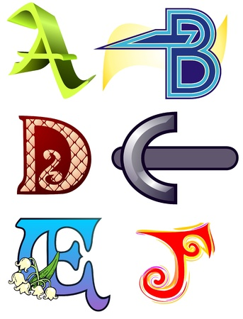 fanciful: Ornate, fanciful capital letters for illumination or letterhead   Ideal for business cards Illustration