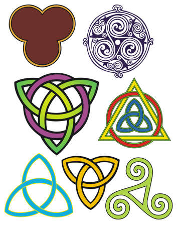 celtic symbol: various three fold symbols with spiritual meanings