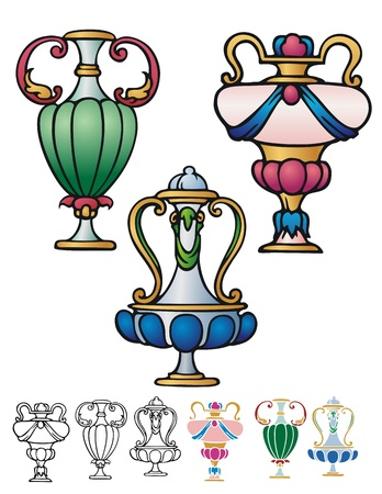 decorative urn: classical style decorative urns with variations, rococo motif