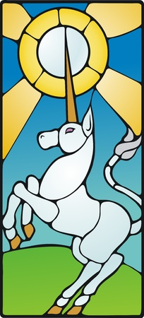 rearing: Rearing unicorn drawn as though made of stained glass