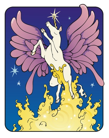 Winged unicorn rising on a column of sparkling golden mist Stock Vector - 19634557