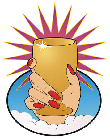 portent: The ace of cups, a hand holding a golden goblet aloft in spiritual triumph