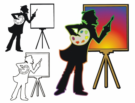 Creativity at work, with black outline and silhouette versions