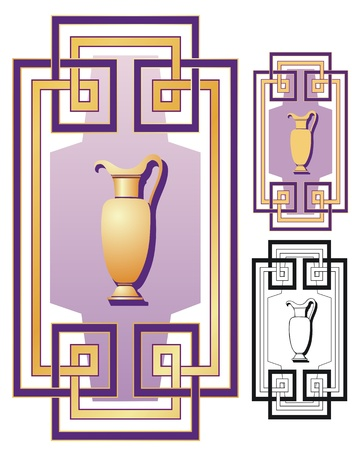 grecian: Ornamental vector design in Deco style  Non gradient and black outline versions included  Illustration