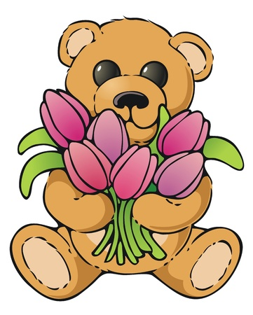 armful: Teddy bear with an armful of tulips Illustration