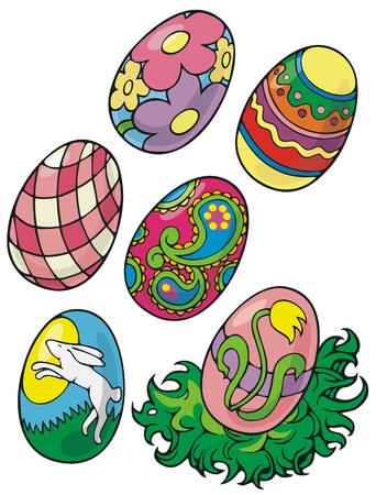 clump: Half a dozen decorated eggs and a clump of grass to nestle them in