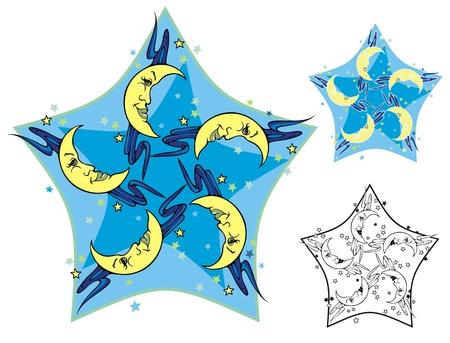moons: Five Moons, mandala style emblem with crescent moons