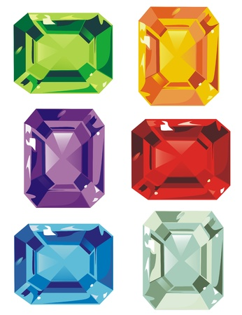 diamond stones: An assortment of colorful cut stones Illustration