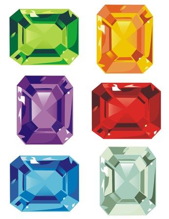 zircon: An assortment of colorful cut stones Illustration
